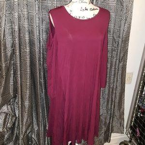 Style & Company burgundy cold shoulder dress XL